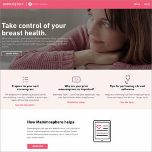 Mammosphere Website Design Homepage