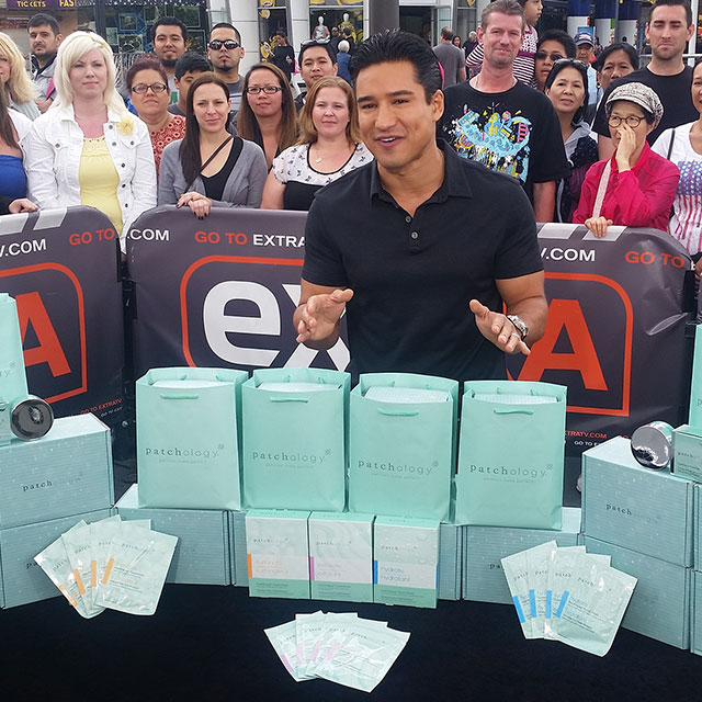 Mario Lopez with Patchology Packaging